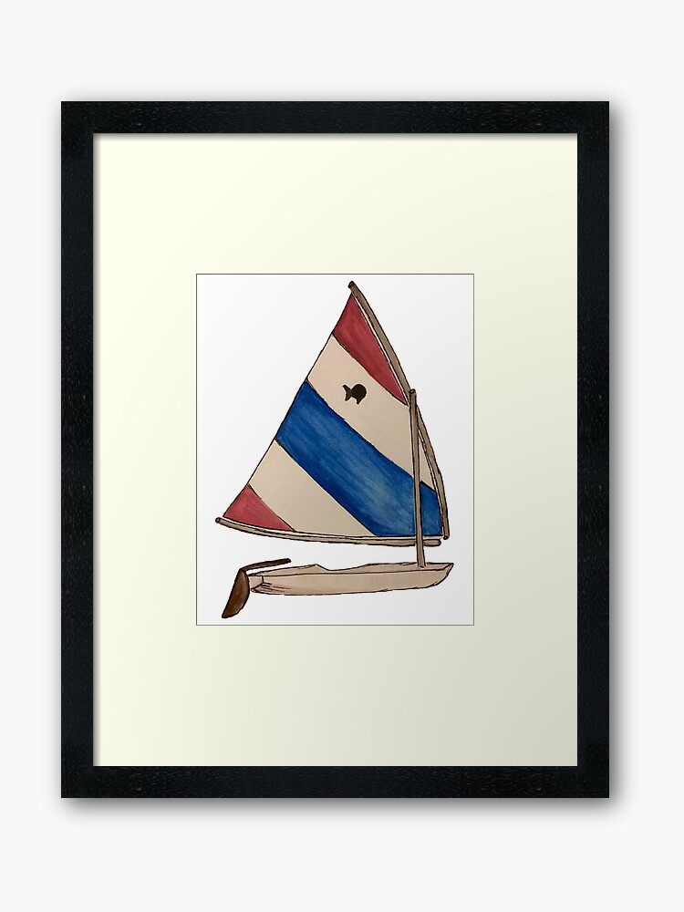 Sunfish Sailboat Red White and Blue | Framed Art Print