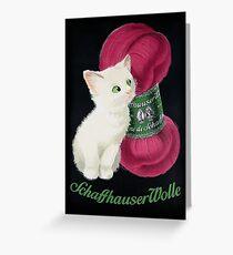 Vintage German wool yarn advert featuring a cute kitten Greeting Card