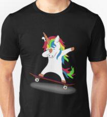 Abtupfendes Einhorn-Skateboard-T-Shirt Skaten-T-Stück Slim Fit T-Shirt