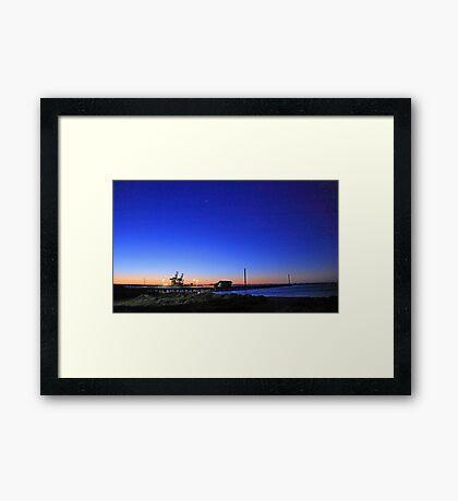 Dock At Dusk Framed Print