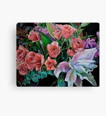 Double Lily with Roses Canvas Print