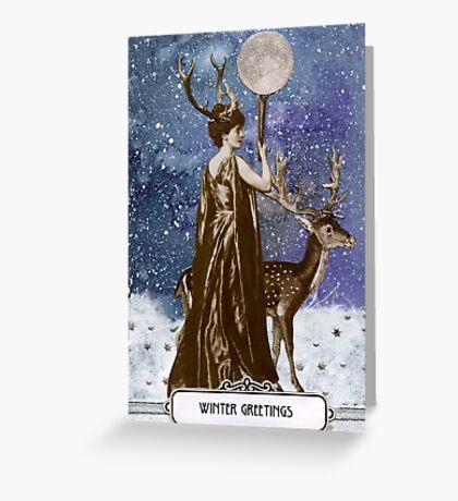 Winter Solstice Moon Goddess Greeting Card