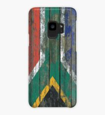 Flag of South Africa on Rough Wood Boards Effect Case/Skin for Samsung Galaxy