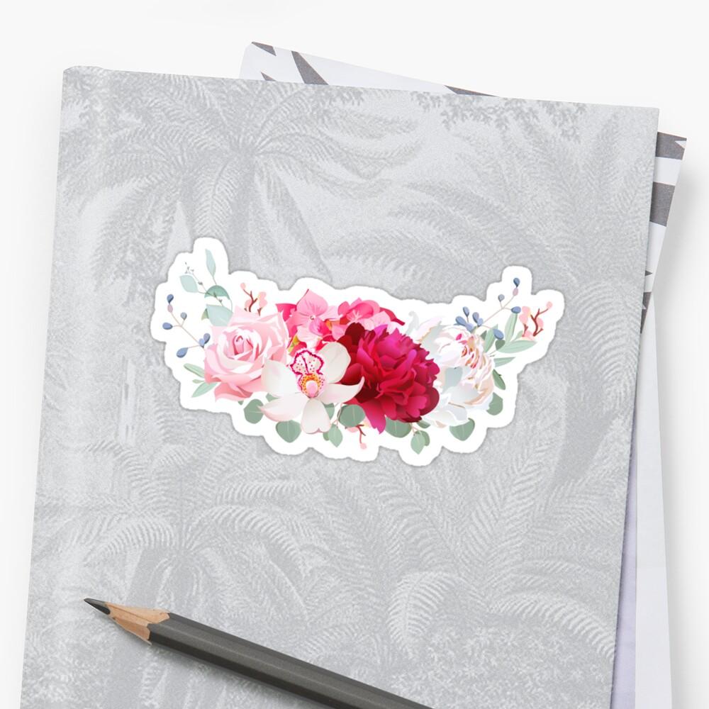 Pegatinas «Delicado vector floral redondo marco con peonía, rosa ...