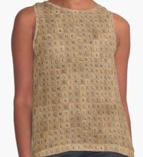 Scrabble Wood Letter Game Pieces Pattern Contrast Tank