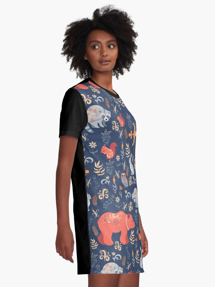 Alternate view of Fairy-tale forest. Fox, bear, raccoon, owls, rabbits, flowers and herbs on a blue background. Graphic T-Shirt Dress