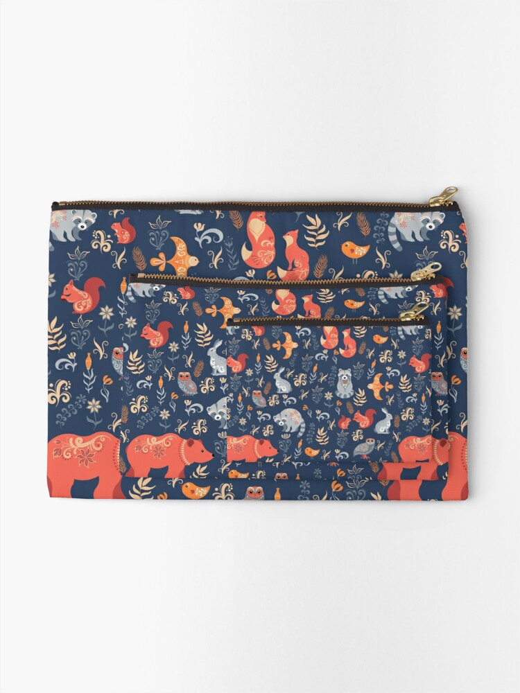 Alternate view of Fairy-tale forest. Fox, bear, raccoon, owls, rabbits, flowers and herbs on a blue background. Zipper Pouch