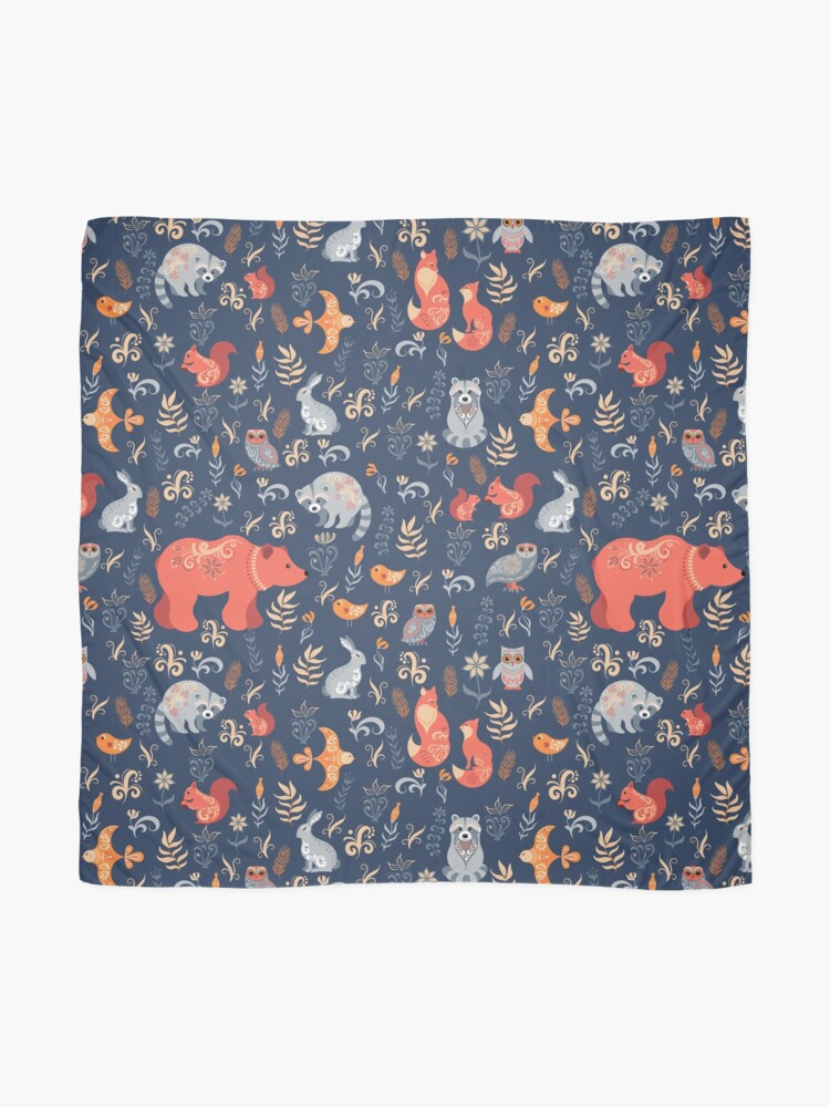 Alternate view of Fairy-tale forest. Fox, bear, raccoon, owls, rabbits, flowers and herbs on a blue background. Scarf
