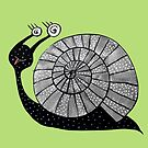 Dizzy Cartoon Snail With Spiral Eyes by Boriana Giormova