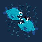 Gossiping Blue Piranha Fish by Boriana Giormova