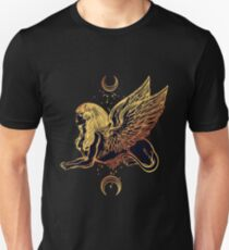 Gold Sphinx Egyptian Goddess with Sacred Geometry and Crescent Moons Unisex T-Shirt