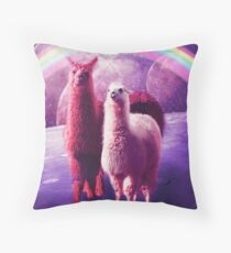 Crazy Funny Rainbow Llama In Space  Throw Pillow