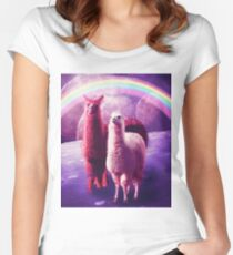 Crazy Funny Rainbow Llama In Space  Fitted Scoop T-Shirt