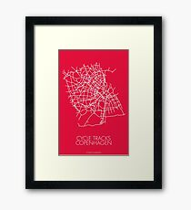 Map of Cycle Tracks - Copenhagen (Red) Framed Print