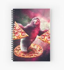 Lustige Space Sloth mit Pizza Spiralblock