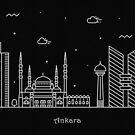 Ankara Skyline Minimal Line Art Poster by A Deniz Akerman