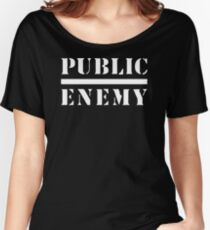 TOP TRENDING  AT708 Women Men Public Enemy Letter Print T Shirt New Product Women's Relaxed Fit T-Shirt