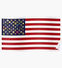 State Trooper, Highway Patrol, State Police, USA Law Enforcement Flag Poster