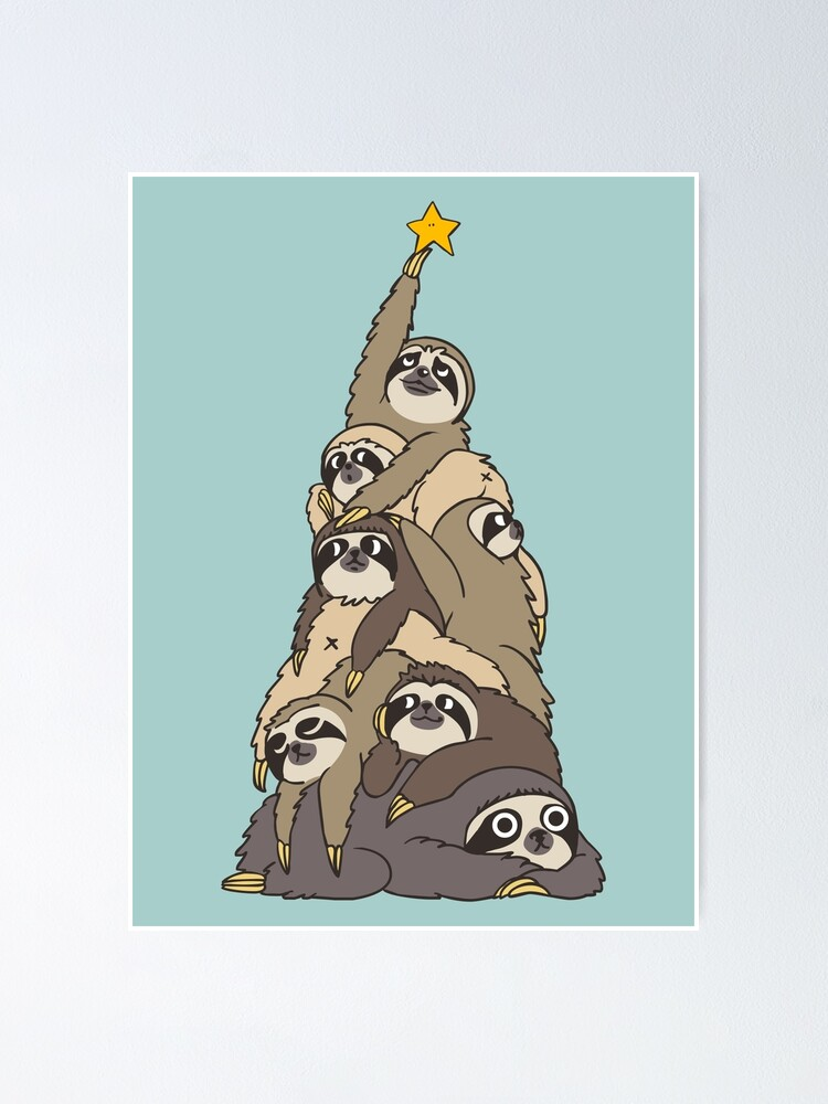 Alternate view of Christmas Tree Sloths Poster