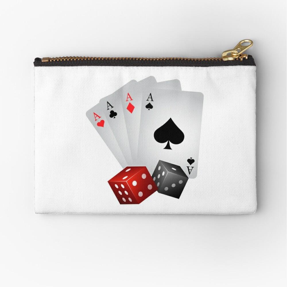 Poker Gambling Four Aces Dice Zipper Pouch
