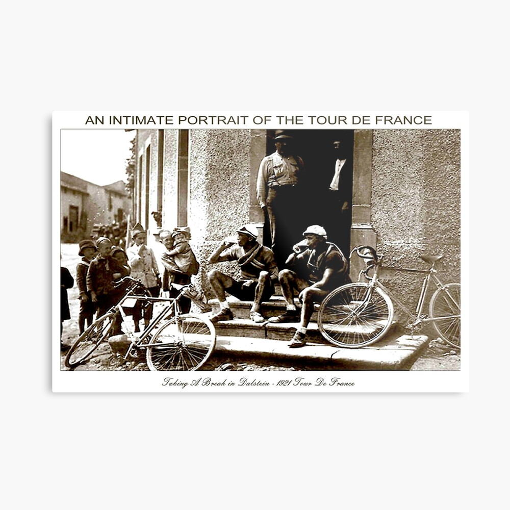 TOUR DE FRANCIA; Vintage tomando una pausa impresión Lámina metálica