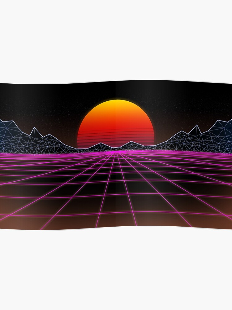 80s retrowave neon grid sunset valley | Poster