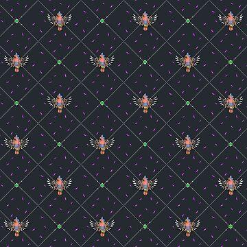 Wallpaper pattern design Bling Birds 9 Edouard Artus by EdouardArtus