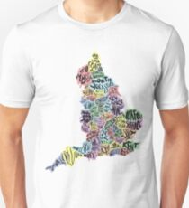 Typographical UK County Map Unisex T-Shirt