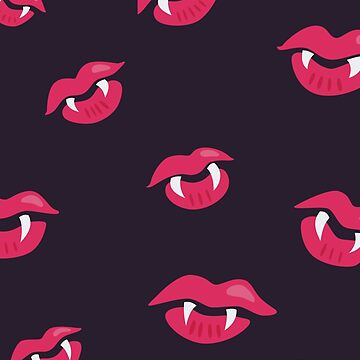 Vampire Lips With Fangs Pattern by azzza