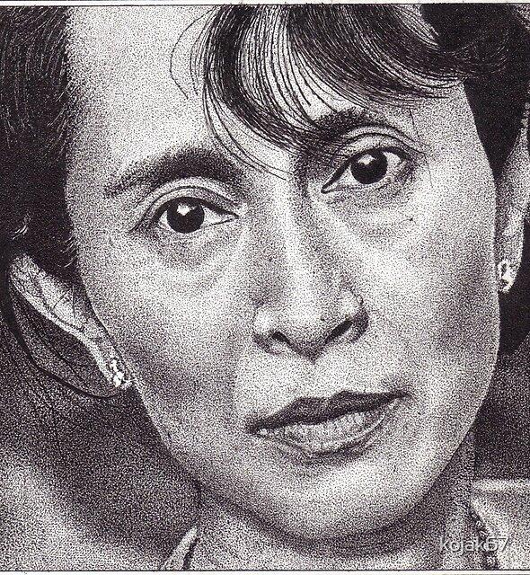 Aung San Suu Kyi, Ink Drawing by kojak67