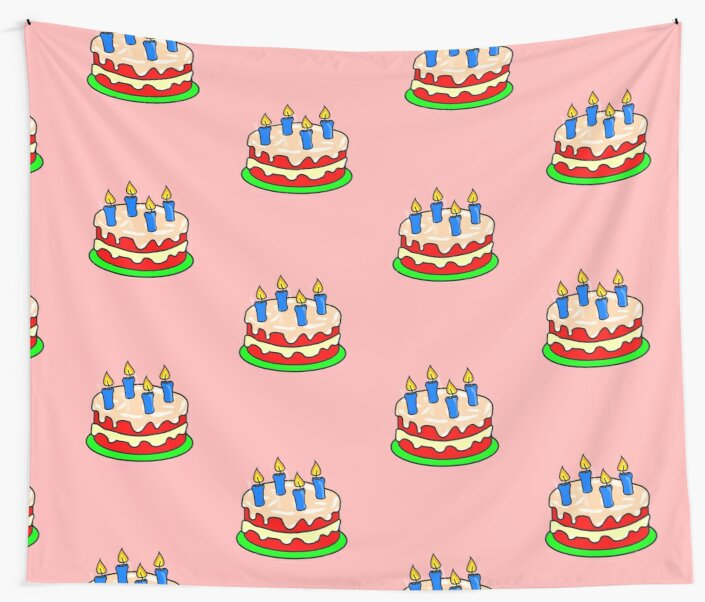 Strawberry Birthday Cake Emoji Wall Tapestries By Printpress