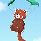 Red panda with parachute by SilveryDreams