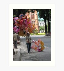 Selling balloon on the street of Ho Chi Minh Art Print