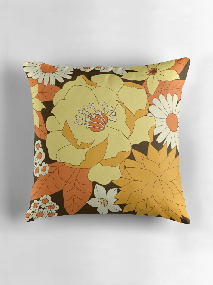 "Yellow Orange and Brown Vintage Floral Pattern"" Throw Pillows by"