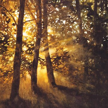 Sunset Trees - watercolor painting by kkmiecikart