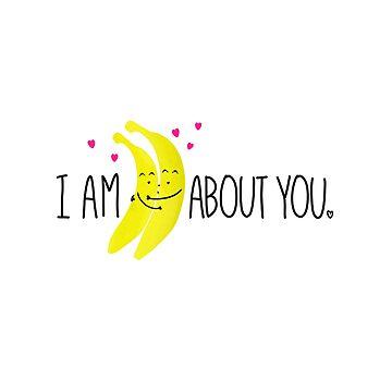 Cute Bananas In Love by HoneybethStudio