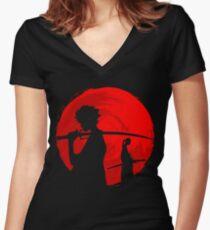 Samurai-Sonnenuntergang Tailliertes T-Shirt mit V-Ausschnitt