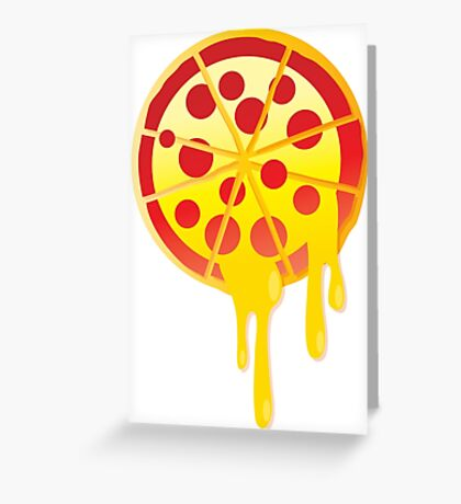 Funny melting cheesy pepperoni pizza Greeting Card