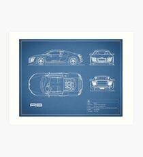 Car blueprint wall art redbubble the r8 v10 blueprint art print malvernweather Gallery
