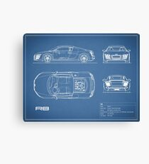 The R8 V10 Blueprint Canvas Print