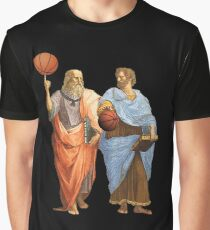 Plato and Aristotle in Epic Basketball Match Graphic T-Shirt