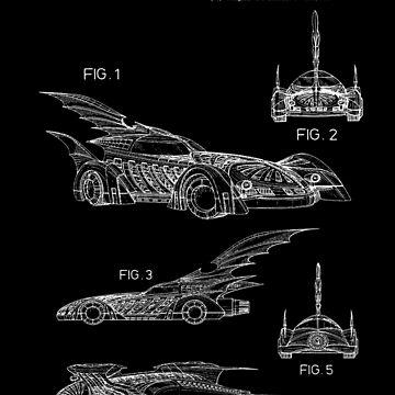 Batmobile Patent White by Vesaints