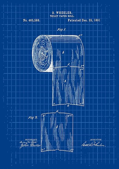 Toilet paper patent blueprint posters by radvas redbubble toilet paper patent blueprint by radvas malvernweather Choice Image