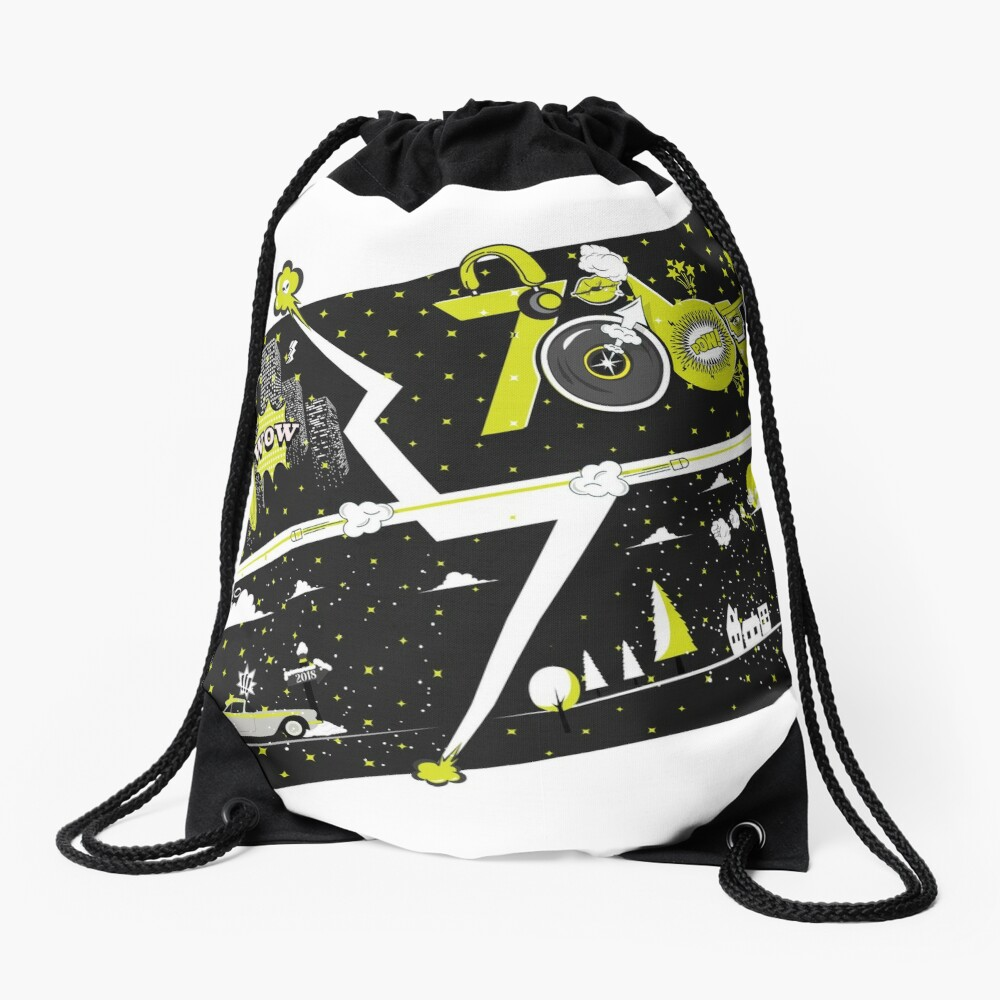 Tobu Yellow Comic Art Drawstring Bag