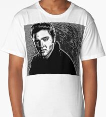 Elvis Presley in Pen and Ink - © Doc Braham; All Rights Reserved Long T-Shirt