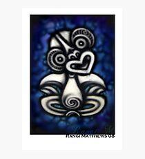 Blue Tiki Photographic Print