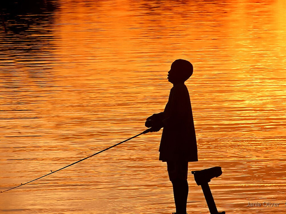 Fishing at Sunset by Janie Oliver