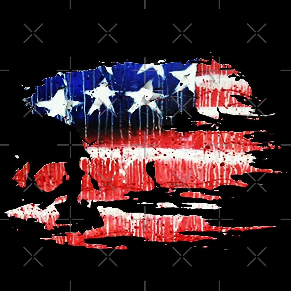 american flag skull by American  Artist