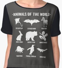 Simple Vintage Humor Funny Rare Animals of the World Chiffon Top