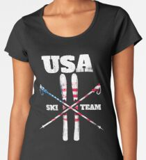 Team USA Ski Winter T-shirt Premium Scoop T-Shirt